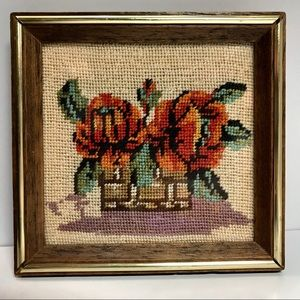 Small Framed Needlepoint MCM Basket of Flowers